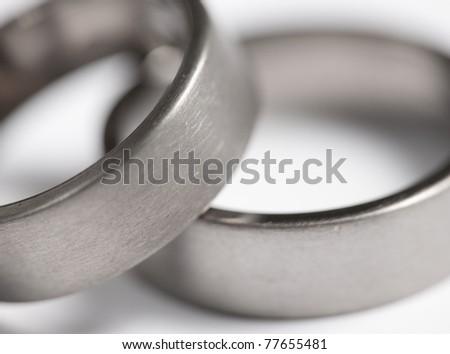 Two brushed metal ( Titanium ) rings - stock photo