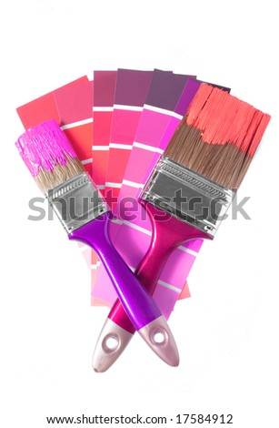 two brushes and palette for repair - stock photo