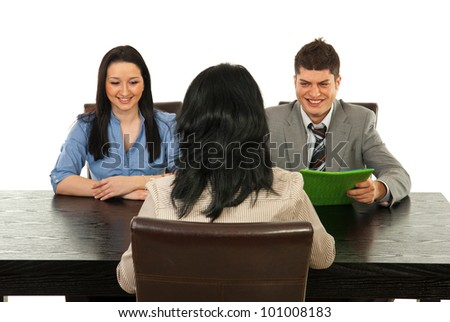 Two busines speople having interview with manager woman in office - stock photo