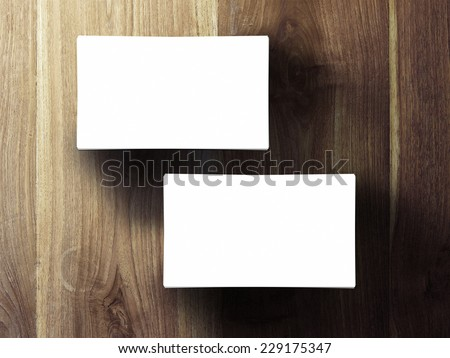 two business cards stack up on wooden table, 3d render - stock photo