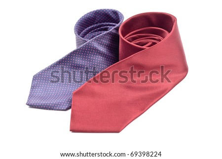 Two Business Dress Ties in Rolled Position - stock photo