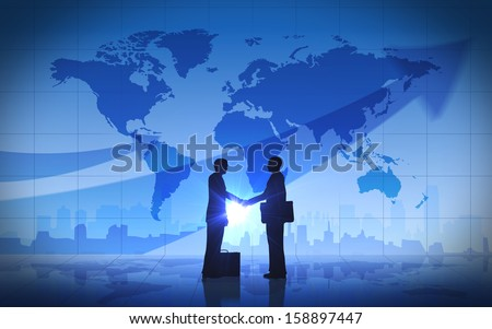 Two business man shake hand silhouettes city with world maps rendered with computer graphic. - stock photo