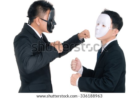 Two business man white masks and black masks isolated on white, fighting   - stock photo