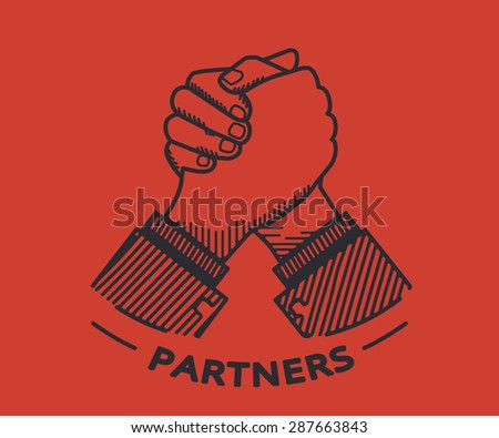 Two business partners agreed a deal and doing handshaking. Illustration on red background - stock photo