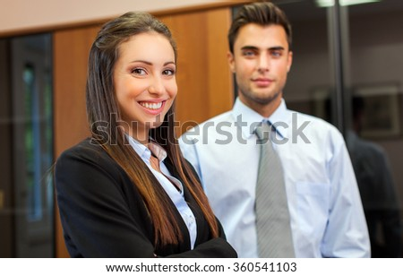 Two business partners in their office - stock photo
