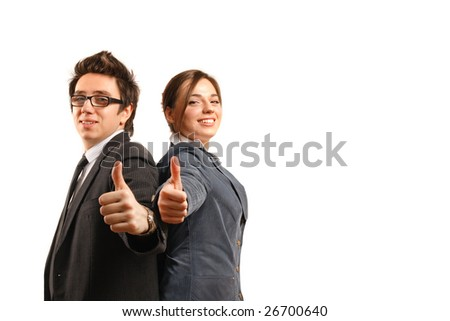 Two business partners looking at the camera while showing okay sign - stock photo