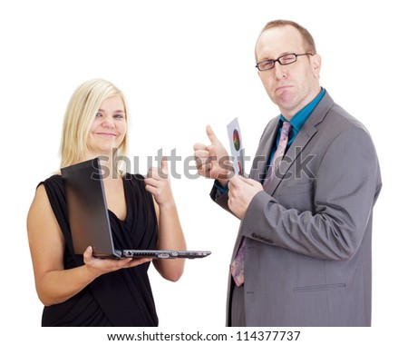 Two business people analysing some facts - stock photo