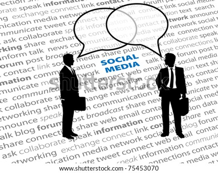 Two business people connect in social media network talk bubbles on a text page background - stock photo