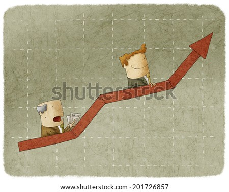 Two business people going up in arrow graph escalator - stock photo