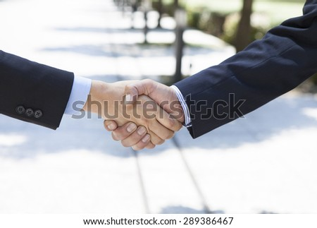 Two Business people shaking their hands outside - stock photo