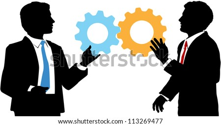 Two business people work together to connect gear symbols of tech solution deal - stock photo