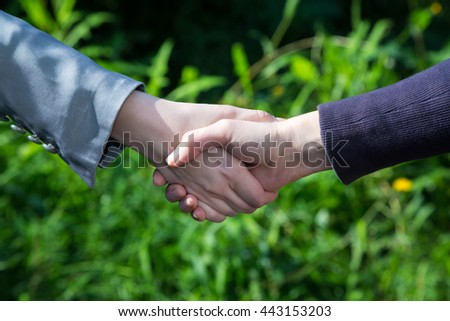 Two business persons shaking hands. Close up of shaking hands in nature. - stock photo
