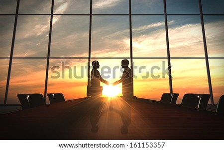Two business  shake hand in office silhouettes rendered with computer graphic 3d - stock photo