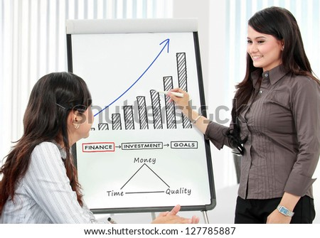 two business woman discussing and looking at whiteboard in the office - stock photo