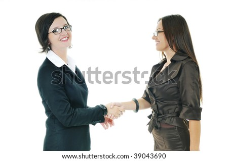 two business woman handshake isolated on white - stock photo