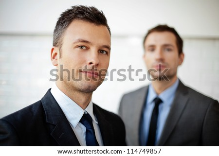 Two businessman, business team selective focus - stock photo
