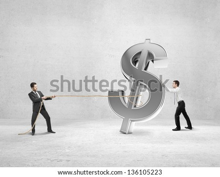 two businessman pulling a rope dollar symbol - stock photo