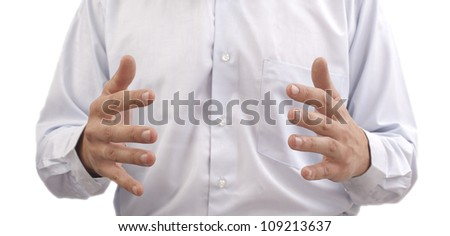 Two businessman's hands with copyspace between them  on background blue shirt - stock photo
