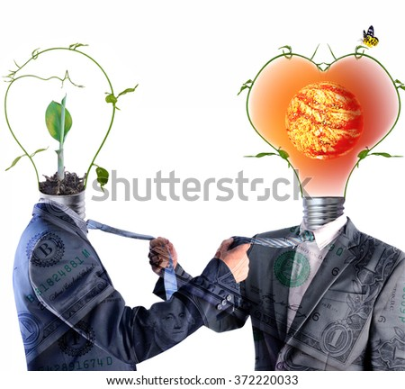two businessman Suit and green energy light bulb head fighting , Element of this image furnished by NASA - stock photo