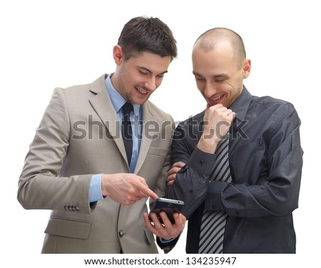 Two businessman using a smartphone on isolated background - stock photo