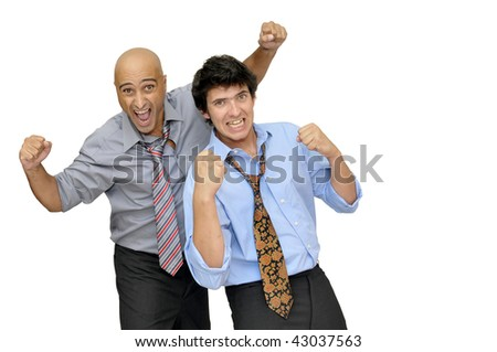 Two businessman with a soccer ball, partying isolated in white - stock photo