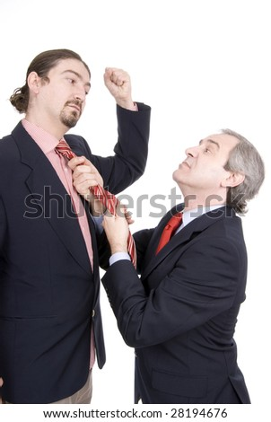 two businessmen argue isolated on white background - stock photo