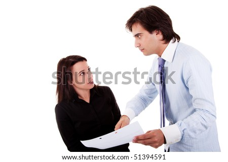 two businessmen discussing because of work, pointing to a sheet, isolated on white background - stock photo