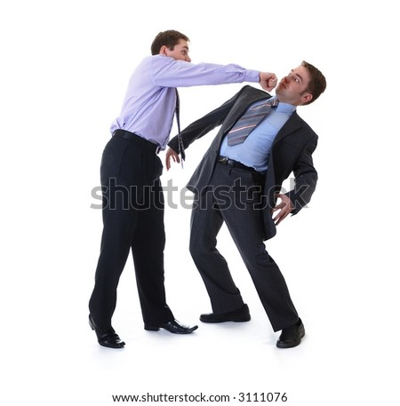 Two businessmen fighting for being the boss - stock photo