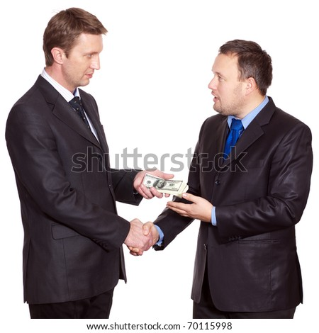 Two businessmen have a deal about money - stock photo