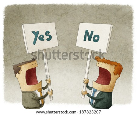two businessmen holding a sign protesting with different opinions - stock photo