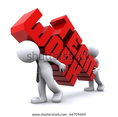 Two businessmen holding text sign. Teamwork concept. Isolated - stock photo