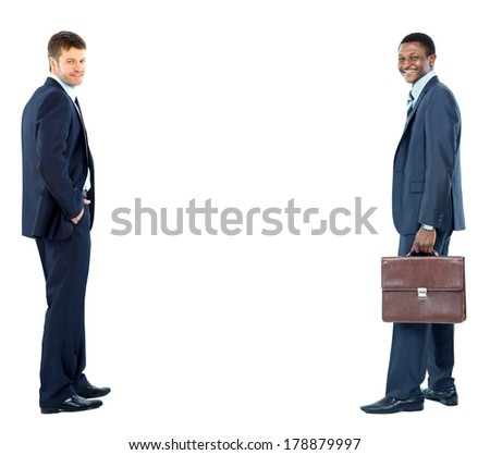 two businessmen isolated on white background - stock photo