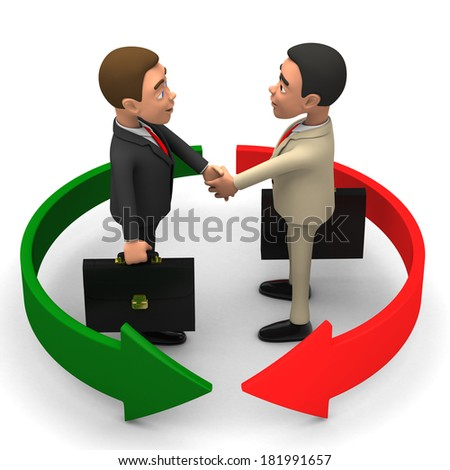 two businessmen on a white background shake hands - stock photo