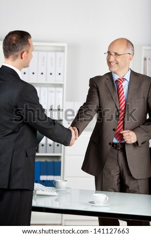 Two businessmen shaking their hands as a sign of approval - stock photo