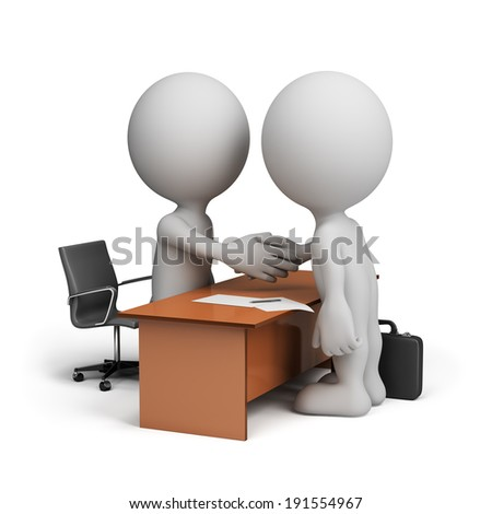 Two businessmen signed a cooperation agreement. 3d image. White background. - stock photo