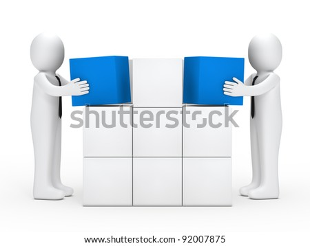 Two businessmen with tie stack red cubes - stock photo
