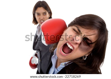Two businesswoman with boxing gloves fighting. isolated on white background. - stock photo
