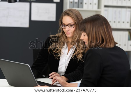 Two businesswomen having a meeting in the office sitting together at a desk using a laptop computer - stock photo
