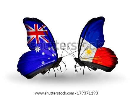 Two butterflies with flags on wings as symbol of relations Australia and Philippines - stock photo