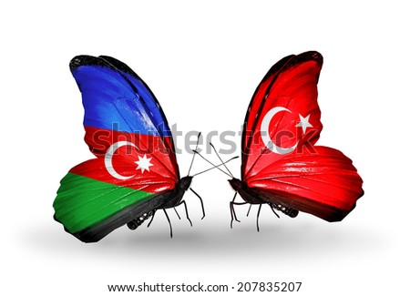 Two butterflies with flags on wings as symbol of relations Azerbaijan and Turkey - stock photo