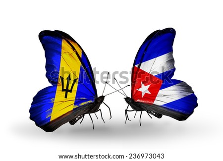 Two butterflies with flags on wings as symbol of relations Barbados and Cuba - stock photo