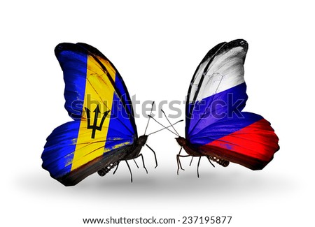 Two butterflies with flags on wings as symbol of relations Barbados and Russia - stock photo