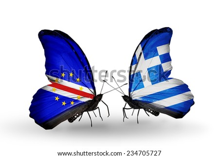Two butterflies with flags on wings as symbol of relations Cape Verde and Greece - stock photo