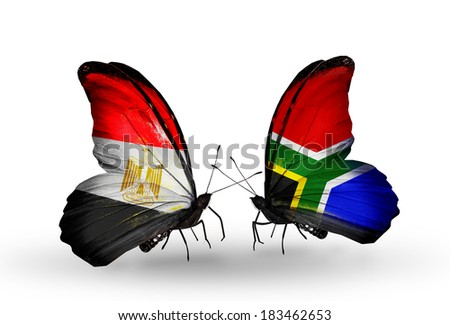 Two butterflies with flags on wings as symbol of relations Egypt and South Africa - stock photo