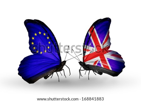 Two butterflies with flags on wings as symbol of relations EU and  UK  - stock photo