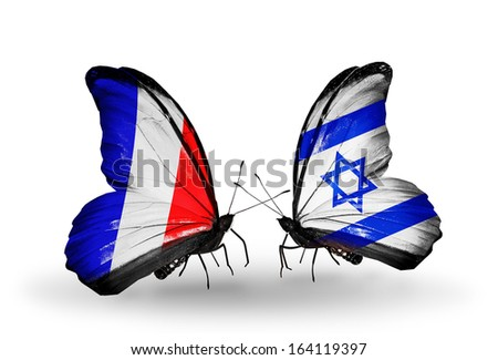 Two butterflies with flags on wings as symbol of relations France and Israel - stock photo