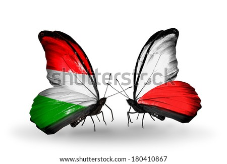 Two butterflies with flags on wings as symbol of relations Hungary and Poland - stock photo