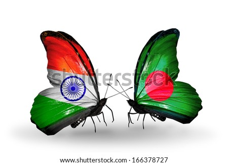 Two butterflies with flags on wings as symbol of relations India and Bangladesh - stock photo
