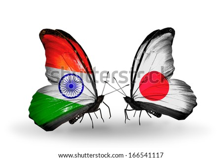 Two butterflies with flags on wings as symbol of relations India and  Japan - stock photo