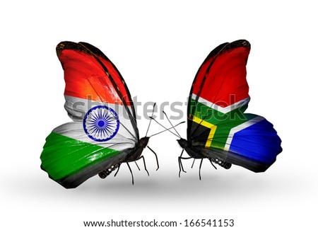 Two butterflies with flags on wings as symbol of relations India and South Africa - stock photo